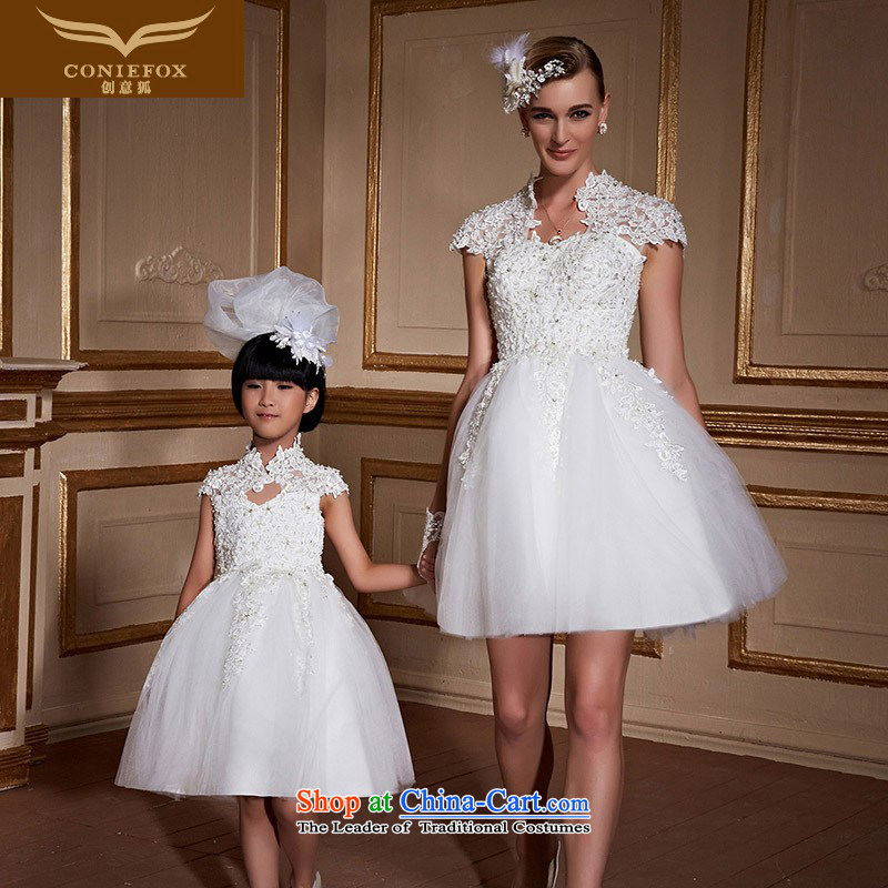 The kitsune style short of creative parent-child wedding dresses pregnant girls wedding dress bon bon marriages wedding Sau San tie tailored wedding 99061 white adult custom)