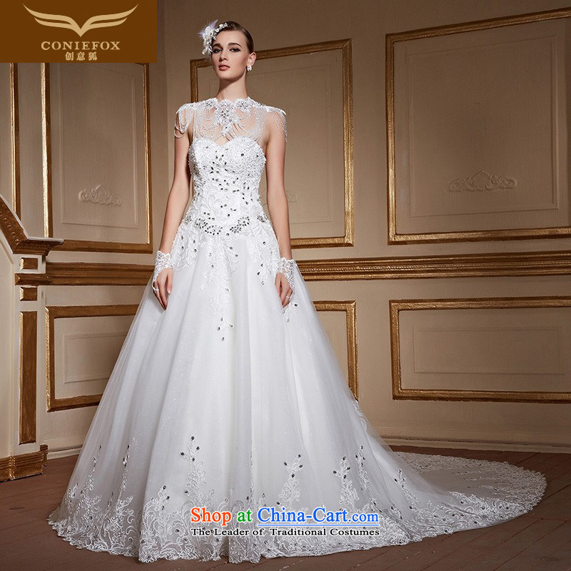 Creative wedding chest anointed fox 2015 new wedding dresses minimalist white diamond Sau San tail wedding marriages wedding tailored 99062 tailored White