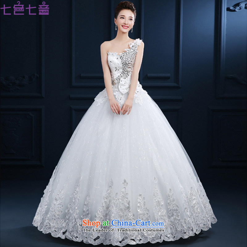 7 7 color tone�2015 new marriages shoulder and chest diamond wedding Korean style to align the Sau San wedding dresses video thin�H077�white tailored (does not allow)