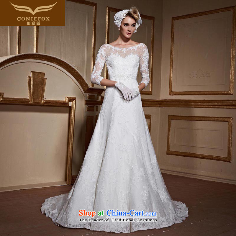 Creative New 2015 FOX lace shoulders wedding dresses and stylish 7 cuff back tail wedding Sau San tie wedding 99063 Custom Tailored White