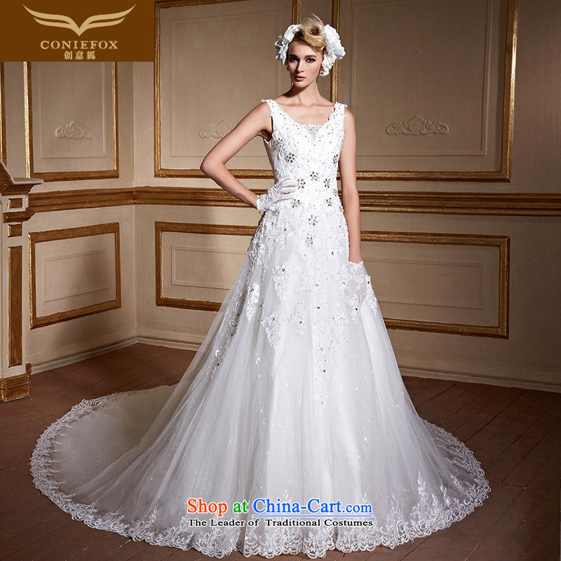 The kitsune tailored Creative wedding fashion shoulders bride wedding dresses long tail Sau San wedding white video thin large wedding 99065 tailored White