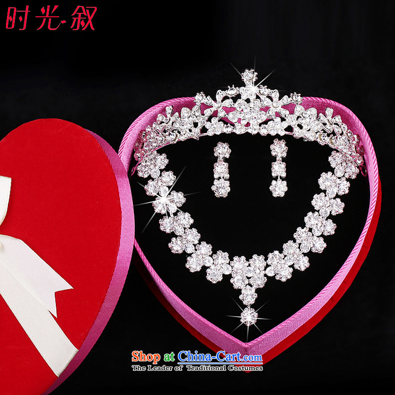 Time the new Syrian_ Korean brides head-dress ornaments Crowne Plaza 3 kit water diamond necklace ear ornaments wedding dresses accessories Gift Box 3-piece set