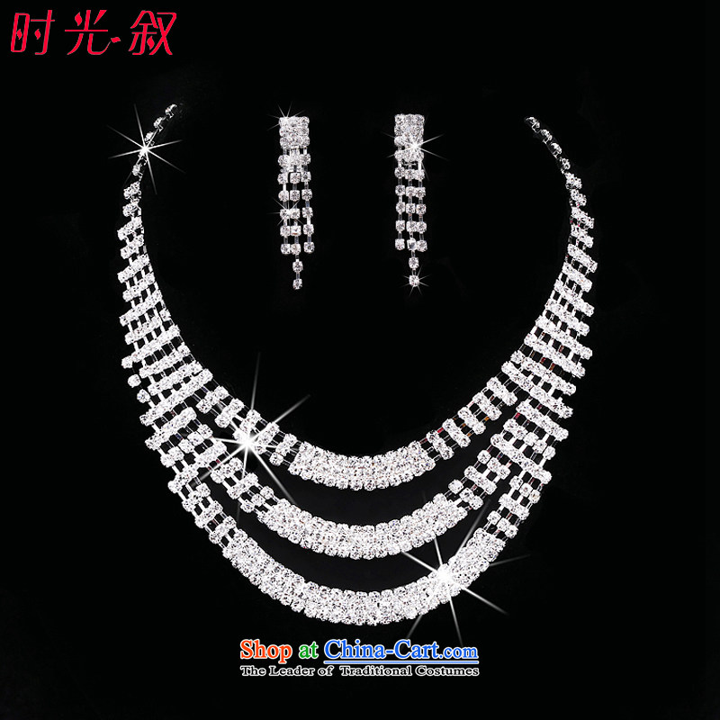 Time Syrian brides jewelry and ornaments necklace earrings three kit wedding accessories Korea wedding crystal diamond necklace earrings hair accessories necklaces Earrings
