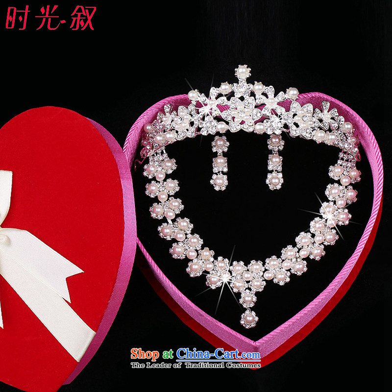 Time Syrian?brides head ornaments of 2015 International Crown necklace earrings Korean pearl ornaments bride drilling water Crown Head Ornaments necklaces three piece Gift Box 3-piece set