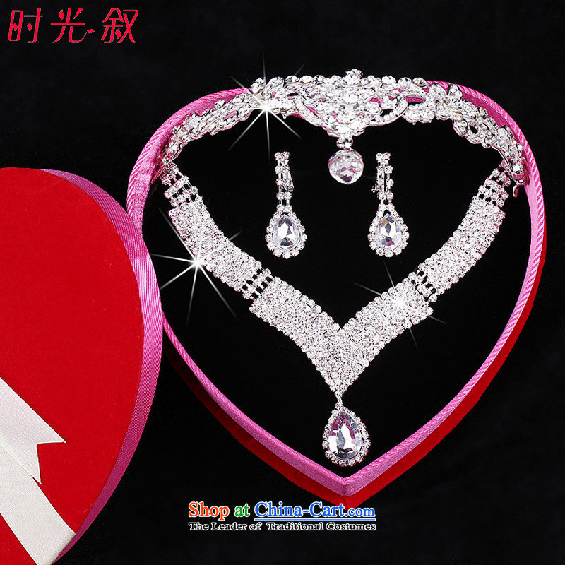The Syrian brides head-dress hour hair accessories for international marriage yarn accessories water diamond necklace Korean style wedding jewelry products crown kit three Cassette 3-piece set