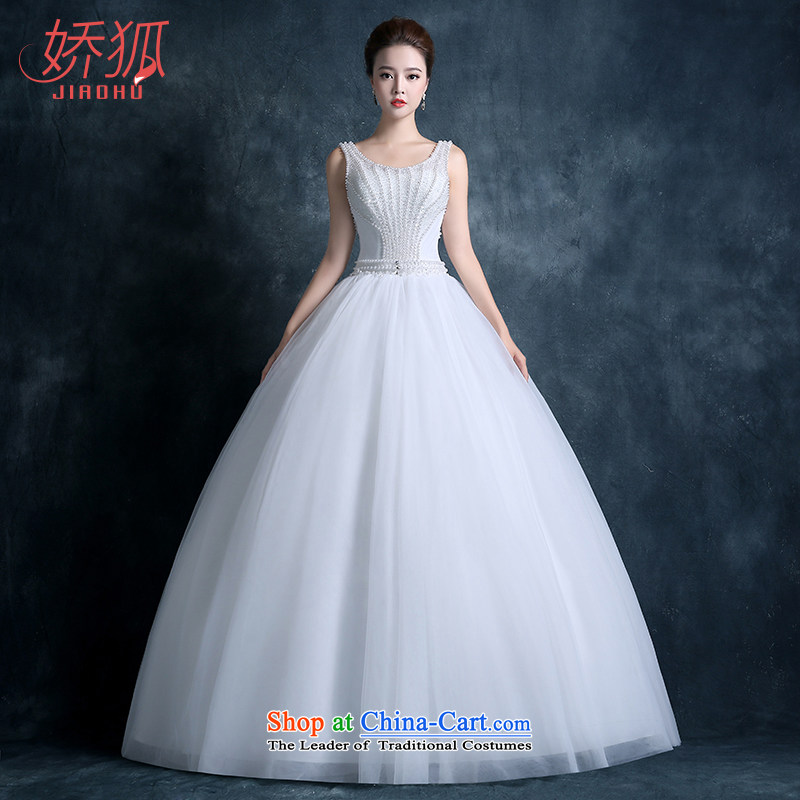 To Fox autumn and winter 2015 new stylish wedding dress bride Korean shoulders round-neck collar back lace retro graphics thin Pearl White?S