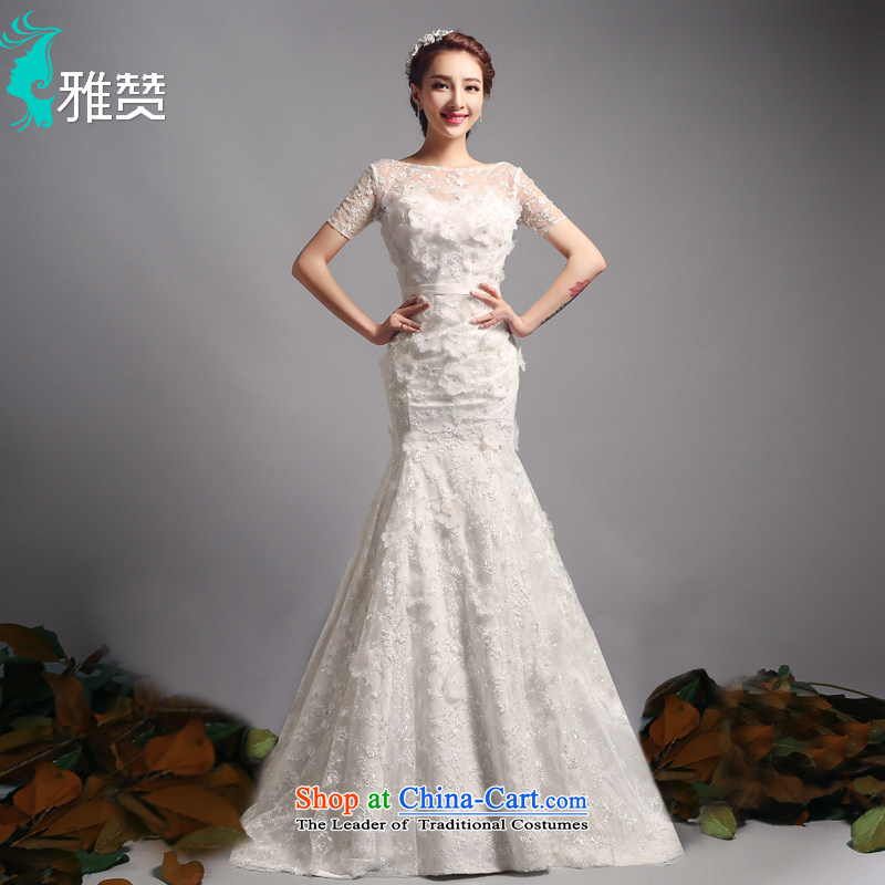 Jacob Chan bride crowsfoot wedding dresses small tail to align the new Word 2015 summer and fall short-sleeved shoulder package Sau San video thin wedding dress to align the marriage of?M