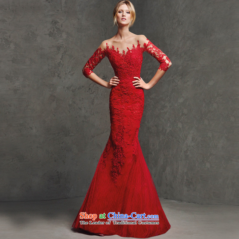 The new Word 2015 shoulder wedding services bows red lace long-sleeved back crowsfoot Sau San evening dresses long marriage wedding long-sleeved)�S