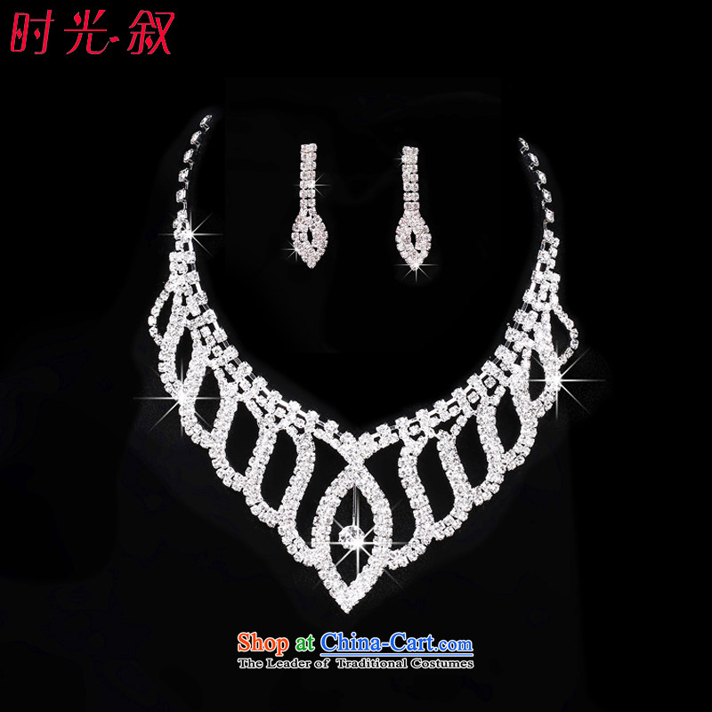 Syria Korean brides time necklace earrings crown three piece water drilling wedding dresses accessories and jewelry necklace Earrings