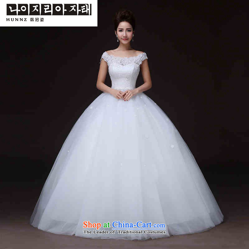 The spring and summer of 2015, the Noble hannizi stylish and simple to align the word   shoulder larger bridal dresses White?XXL