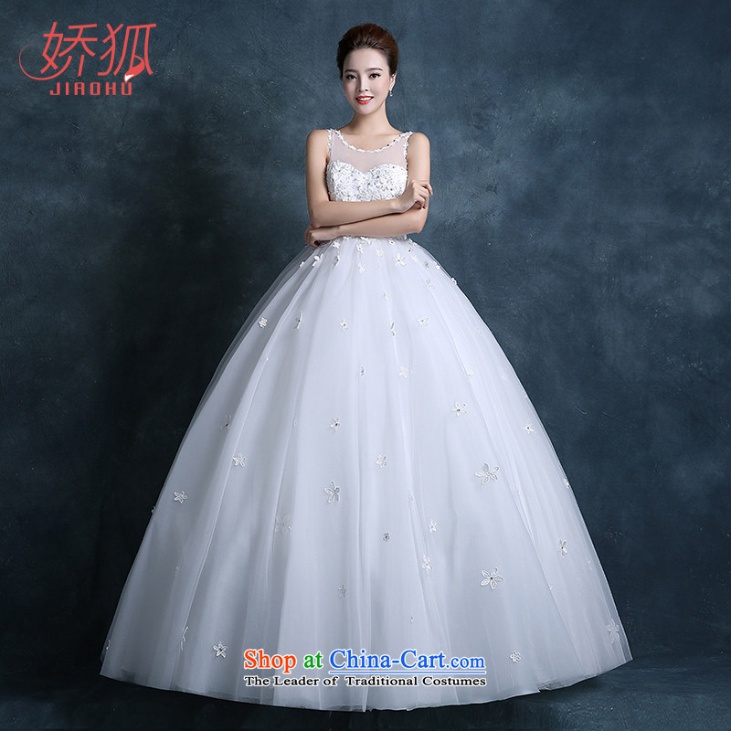 To Fox New 2015 autumn and winter Korean shoulders round-neck collar transparent lace white petals manually align to bind with custom White M Wedding