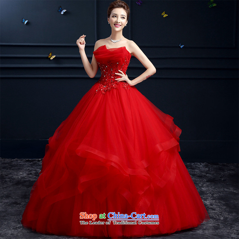 The spring and summer of 2015 Korea HUNNZ red anointed chest high fashion to align the long bride wedding RED?M