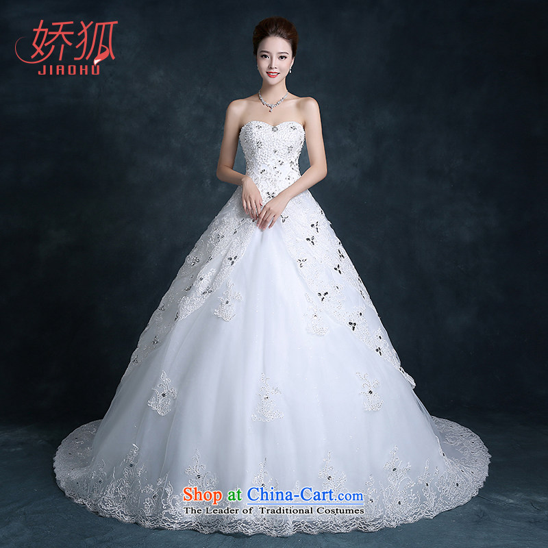 To Fox new brides fall 2015 wedding dresses long tail wiping the chest to align the large Sau San flowers large custom White�M tail