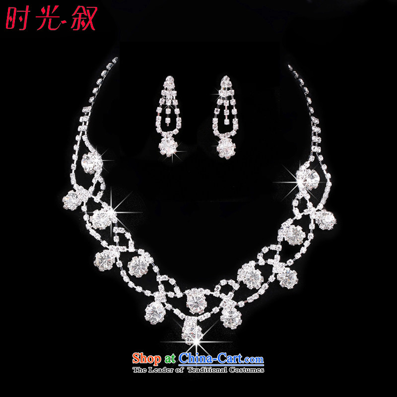 The Syrian brides head-dress hour hair decorations marriage wedding dresses accessories water diamond necklace Korean style wedding jewelry products crown three kit necklace Earrings