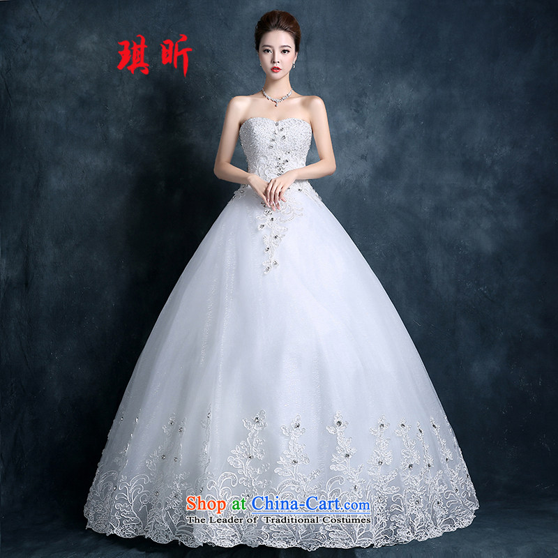 Xin Qi 2015 Autumn wedding dresses new bride flowers lace straps Korean Princess minimalist wiping the chest to wedding white?S