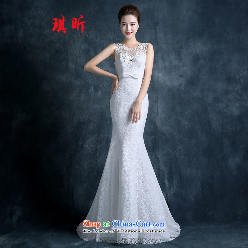 Xin Qi 2015 NEW Summer Wedding marriages Asian layout lace a shoulder, back-end crowsfoot Sau San small trailing white?M