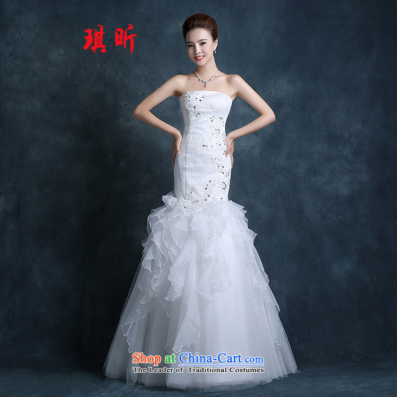Xin Qi tail crowsfoot wedding dresses autumn 2015 new Korean anointed chest large red lace bride code Sau San Video white聽L female thin