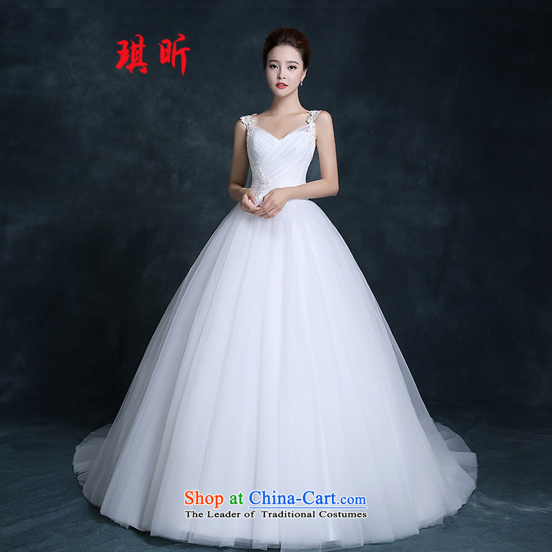Xin Qi new stylish wedding dress Korean lace shoulders a small trailing your shoulders to simple bridal lace wedding white?S