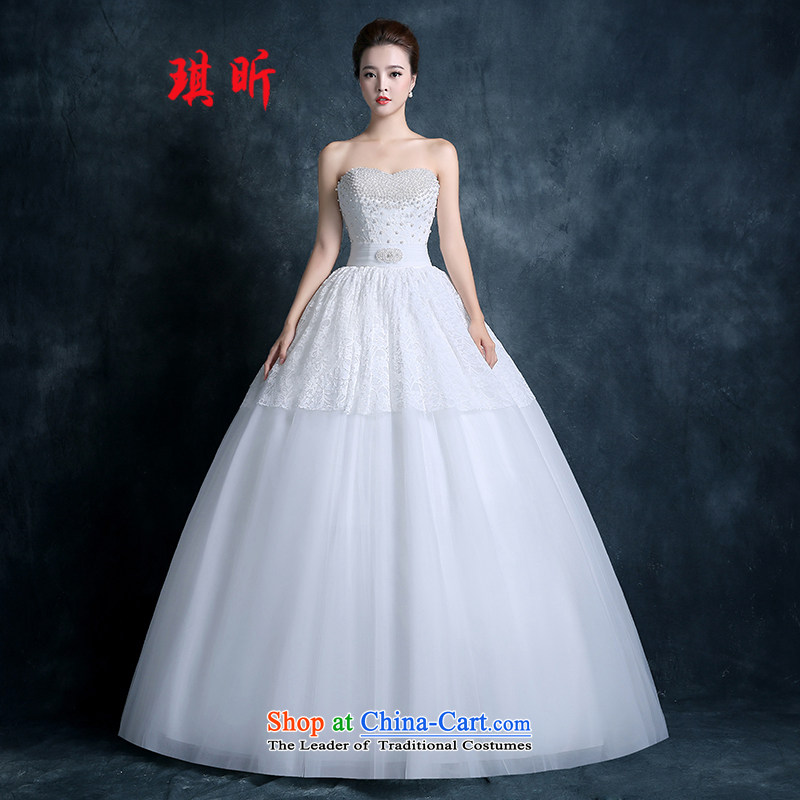 Xin Qi wedding dresses 2015 new marriages and chest-white lace straps to align the large graphics thin Korean style White XL