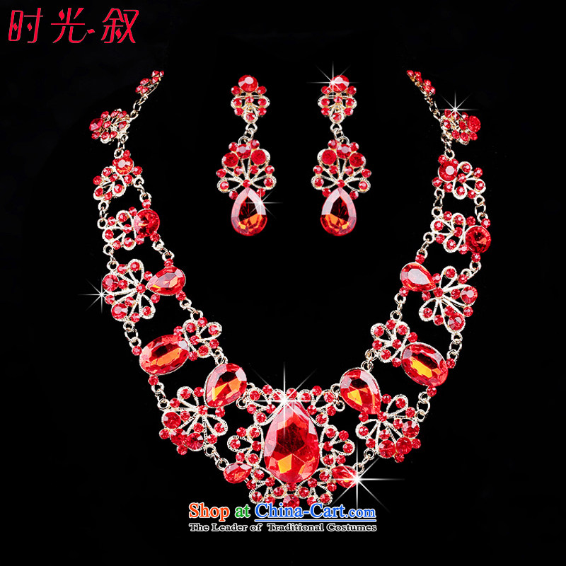 Time Syrian brides red jewelry kits Crystal Necklace Kit Chinese red jewelry and ornaments marriage wedding dresses accessories necklaces, earrings