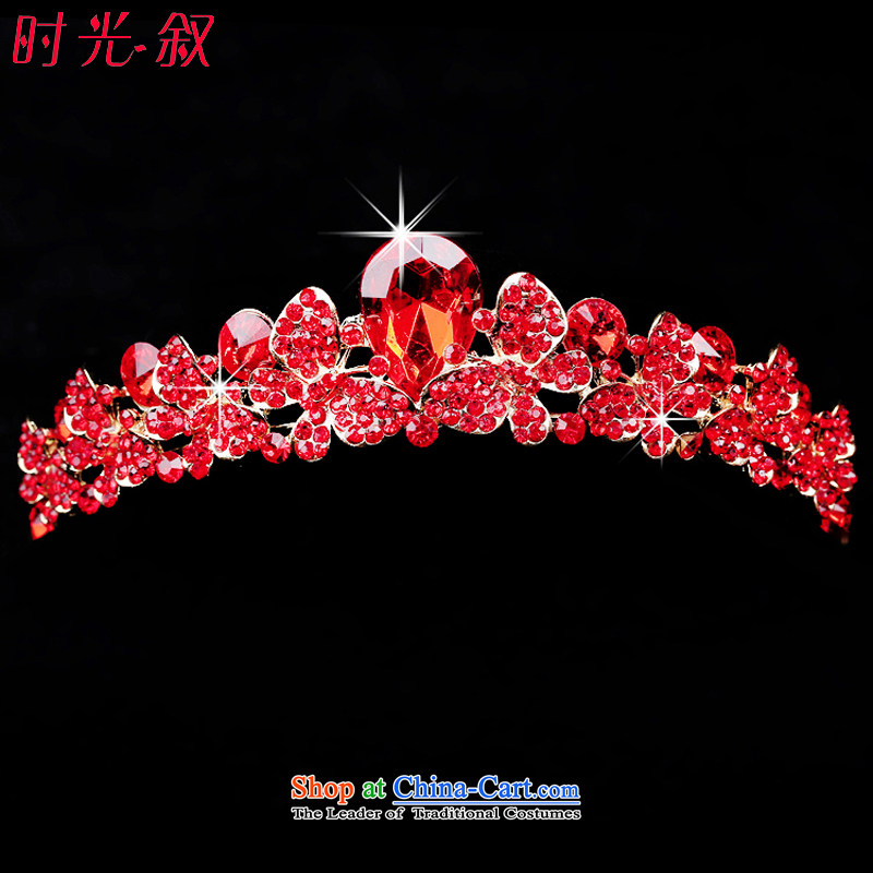Syria Korean time red alloy water drilling bride jewelry and ornaments necklace three Crown Kit marriage wedding dresses accessories crown