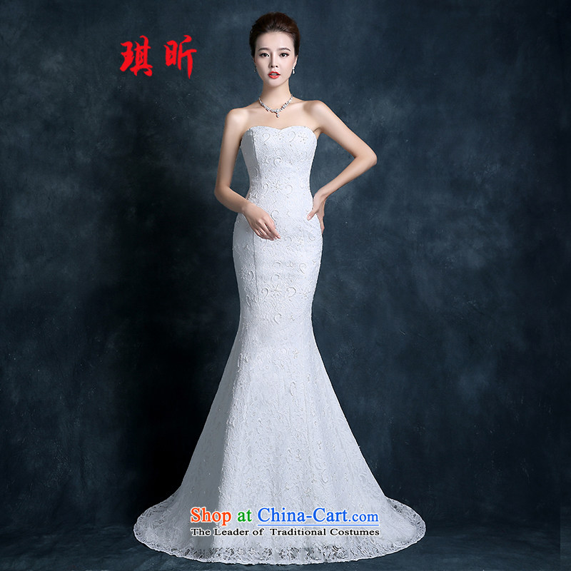 Xin Qi tail crowsfoot wedding dresses autumn 2015 new Korean anointed chest lace white bride code Sau San Video white聽L female thin