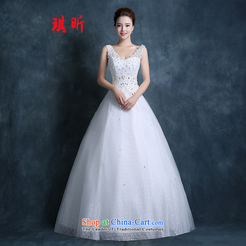 Xin Qi shoulders wedding dresses bon bon skirt autumn 2015 new lace to align graphics thin strap white�L