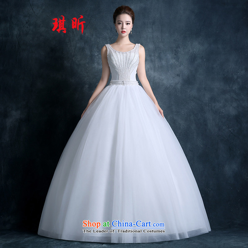 The litany of autumn 2015 Qi new stylish wedding dress bride Korean shoulders round-neck collar lace retro thin Pearl White�M graphics