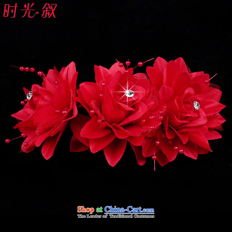 Time Syrian rose diamond hairpiece flowers Korean brides flower headdress water drilling marriage hair decorations for the wedding ornaments red