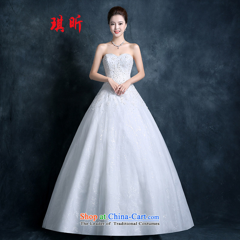 Xin Qi wedding dresses 2015 new Korean fashion align fall with large diamond chest straps thin white?XL video