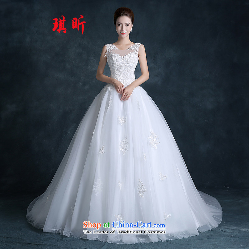 Xin Qi new stylish wedding dress Korean lace shoulders small trailing shoulders to align the minimalist bride lace wedding White�XXL