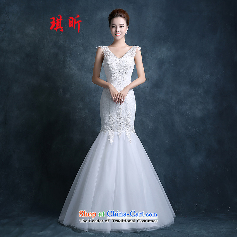 Xin Qi Crowsfoot Wedding 2015 new stylish Korean autumn and winter shoulders V-Neck small trailing video thin bride wedding dress White?M