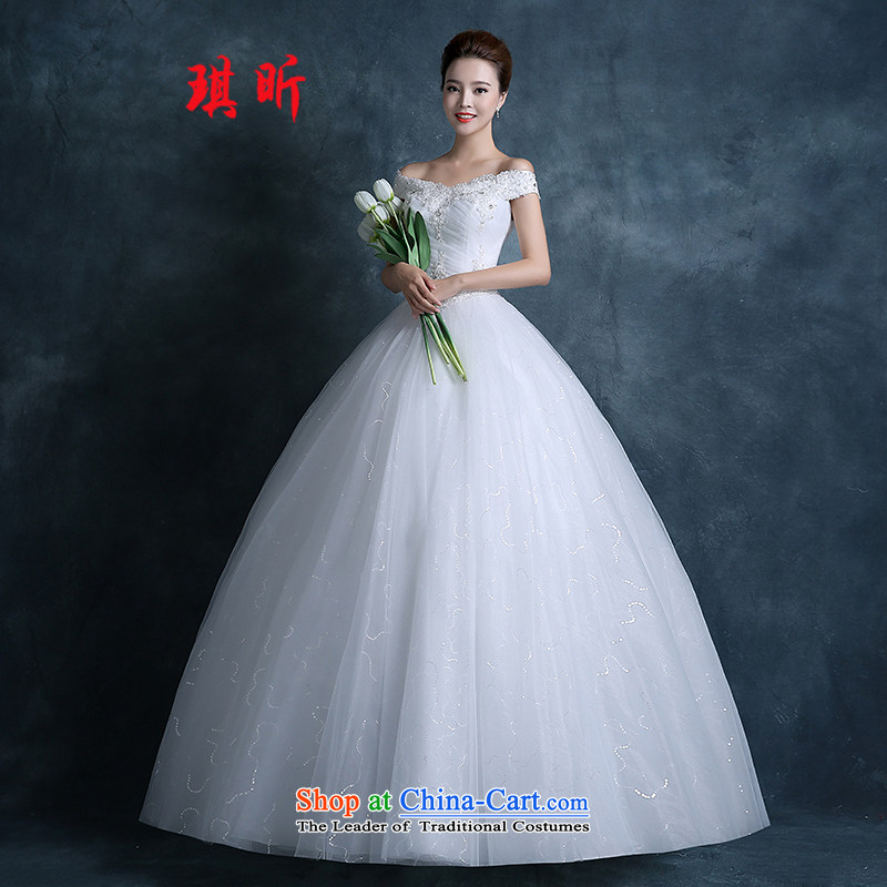 The litany of autumn 2015 Qi new stylish Korean wedding dresses simple word   marriage to align the shoulder bride wedding White�XXL