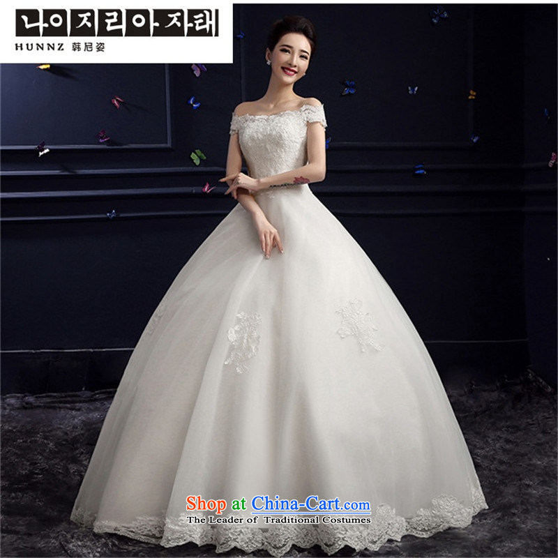 The spring and summer of 2015 New hannizi wedding gown, large stylish shoulder straps word alignment to Sau San bride wedding to align the white)?S