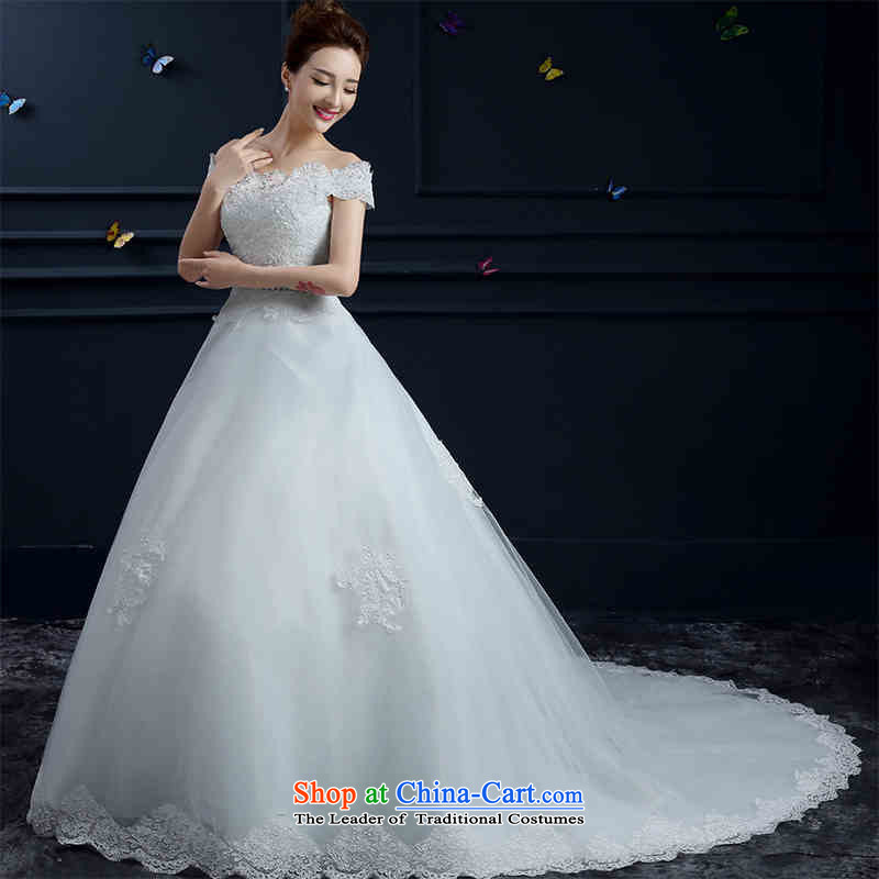 The spring and summer of 2015 New HUNNZ wedding gown, large stylish shoulder straps word Korean brides wedding white streak of�M