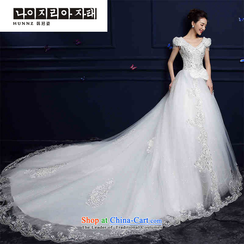 The spring and summer of 2015 New hannizi wedding gown, Korean Word shoulder straps to align the stylish tail bride wedding white streaks,�XXL