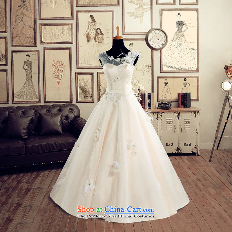 A Bride wedding dresses 2015 Summer New Word to align the shoulder Wedding 2627 champagne XL
