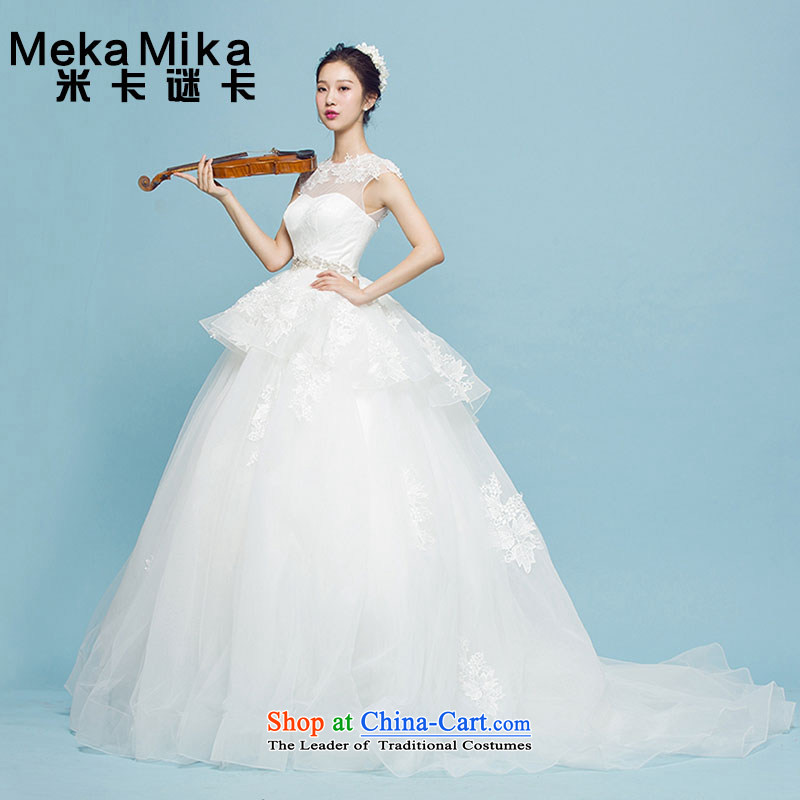 M card mystery card Begonia Wedding Summer 2015 New Long Tail and chest Korean Sau San video thin bride wedding dresses ivory?M
