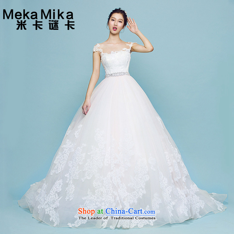 M card lilies Wedding 2015 new summer Korean long tail and chest marriages lace Korean shoulders wedding ivory�S
