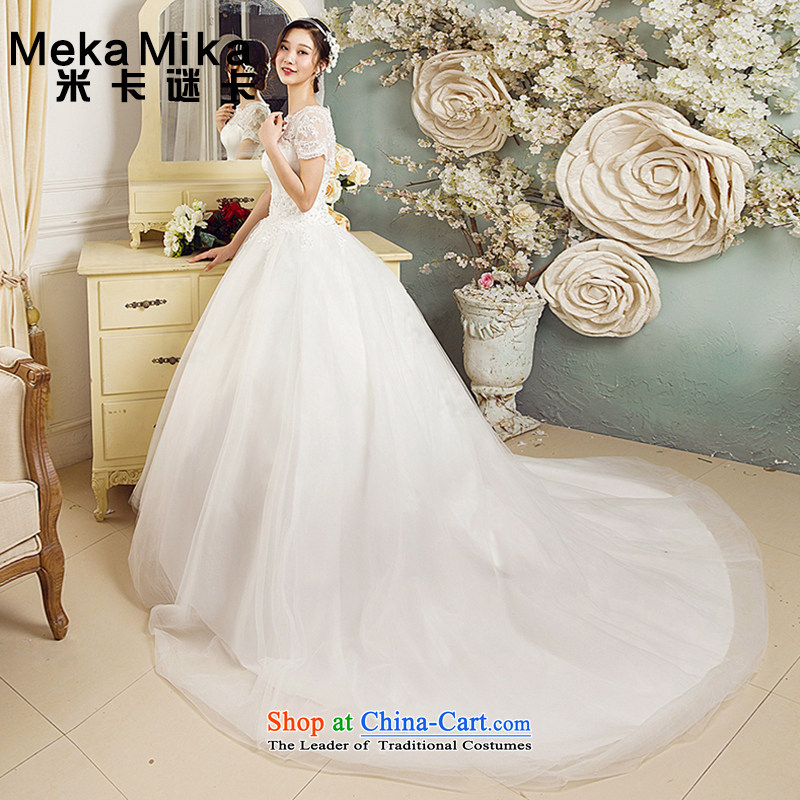 M card hibiscus Korean wedding dresses 2015 Summer Korean long tail package shoulder Korean style wedding summer engraving back ivory?M