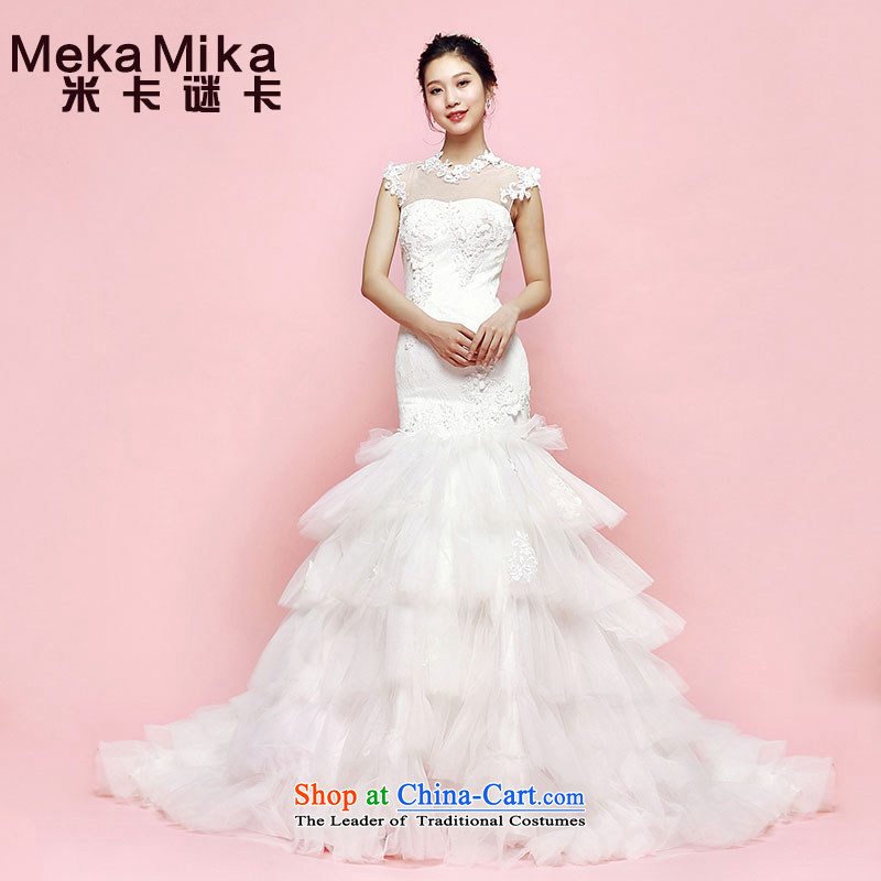 M Card Wedding 2015 Summer Crowsfoot Barbie cool romantic bride foutune shoulders crowsfoot white wedding dresses ivory?M