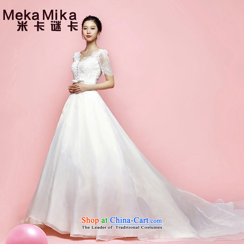 M Card Orchid Wedding 2015 new summer Korean long tail and chest of the bubbling cuff shoulders wedding marriages ivory?L