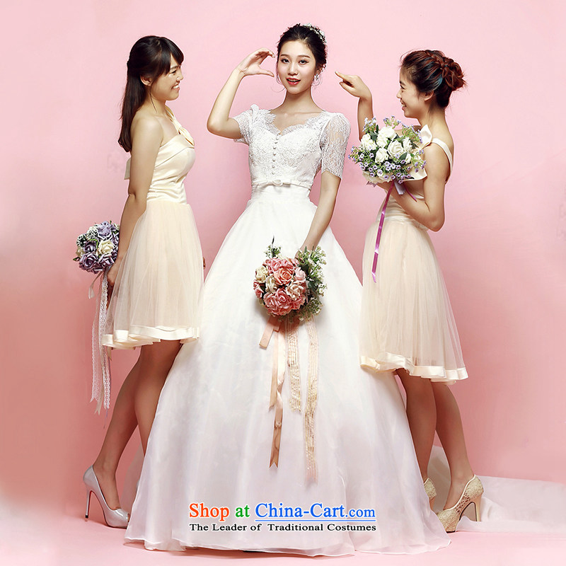 M Card Orchid Wedding 2015 new summer Korean long tail and chest of the bubbling cuff shoulders wedding marriages ivory , L, M card mystery card (MEKAMIKA) , , , shopping on the Internet