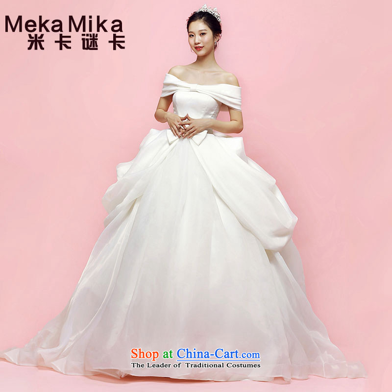 M Card Mikania micrantha Wedding 2015 new summer bride elegant long tail Korean word shoulder higher waist wedding summer ivory?L