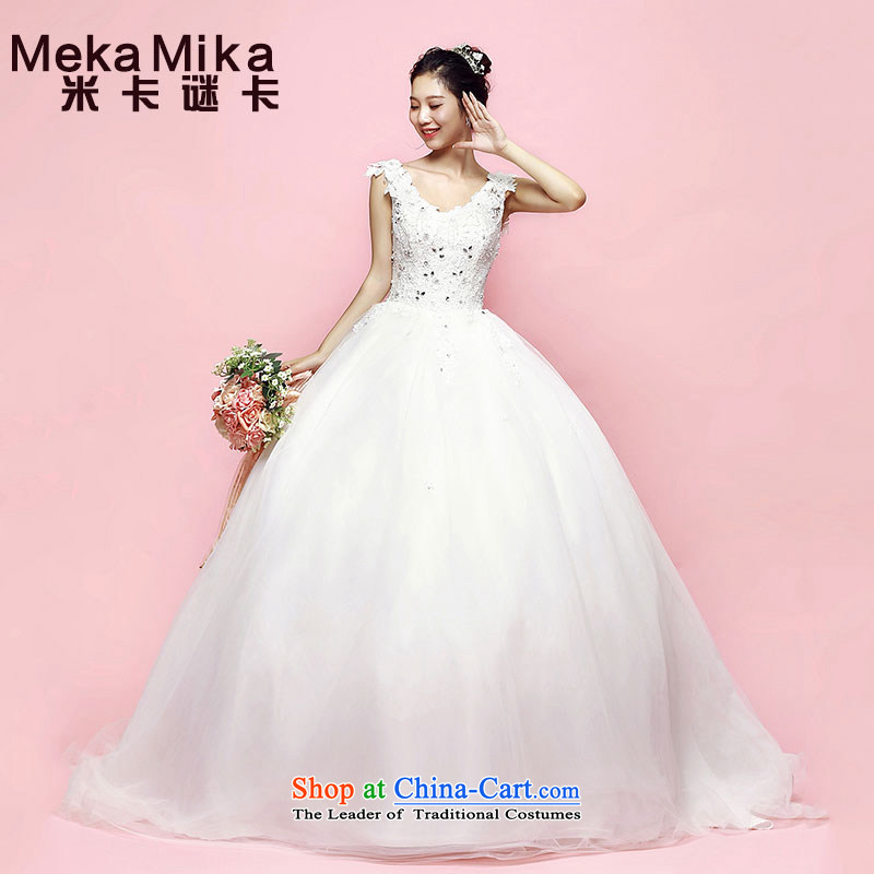 M Card Bauhinia Wedding 2015 new summer long tail deep V-Neck Korean Sau San video thin marriage wedding dresses trailing?M