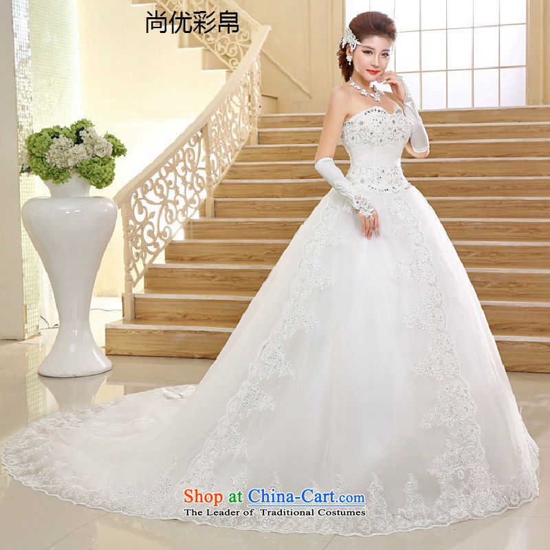 There is also optimized 8D wedding dresses new graphics thin anointed breast height waist lace pregnant women long tail bride xs1007 wedding package white?S