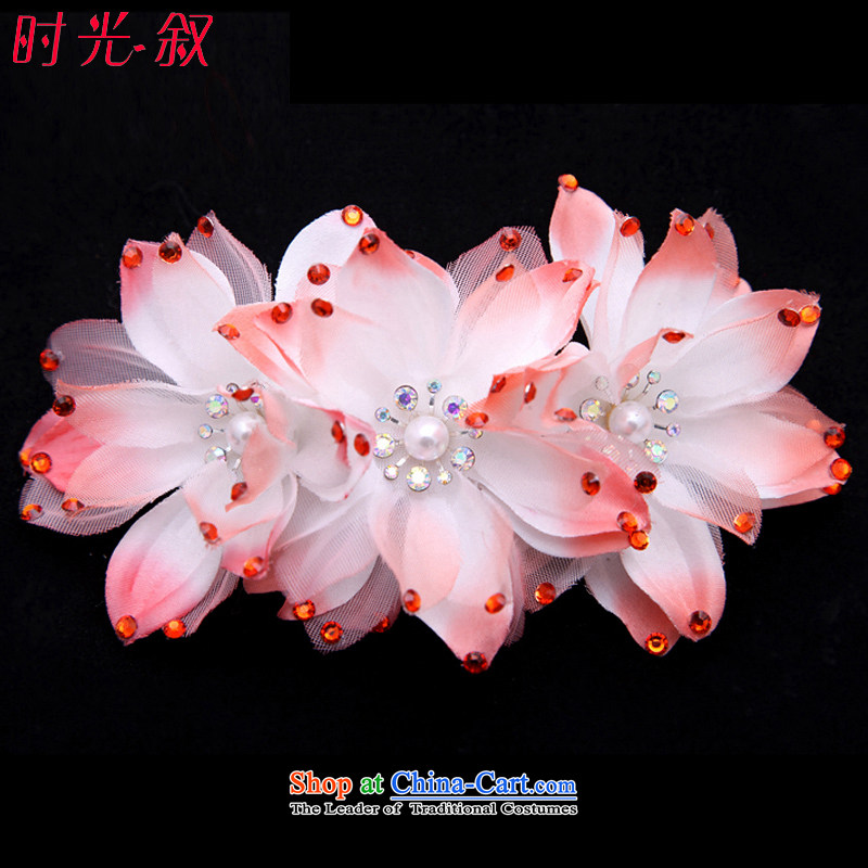Time Syrian Magnolia diamond hairpiece flowers Korean brides flower headdress water drilling marriage hair decorations for the wedding ornaments watermelon red