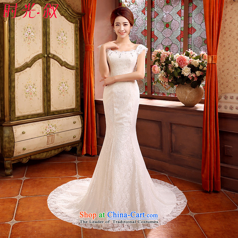 Time Syrian crowsfoot wedding autumn 2015 new stylish Korean shoulders of Korea wedding dress a small shoulder tail Field Graphics thin bride wedding dress?XS