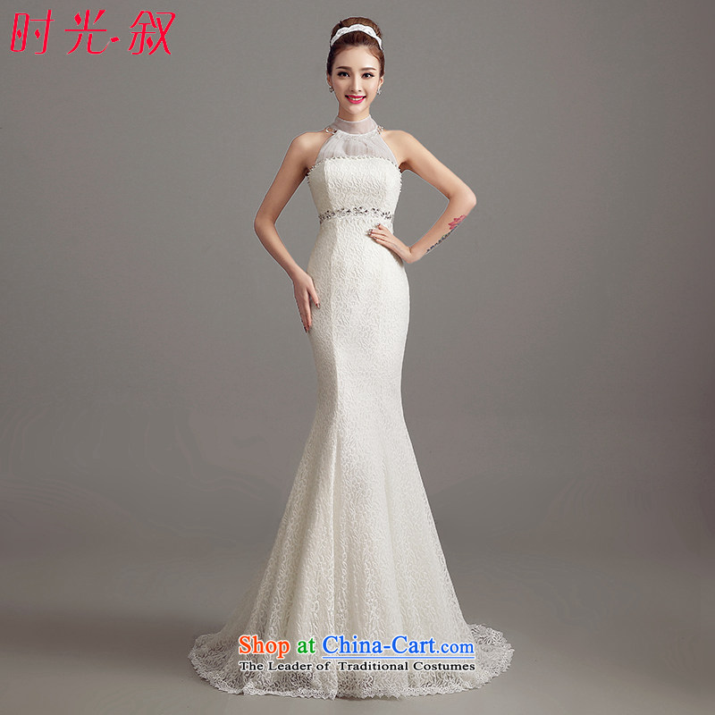 The Syrian Arab Republic and the Republic of Korea time bride wedding dress?new dress autumn 2015 Korea version is simple and stylish collar small trailing lace crowsfoot wedding video thin White?XL