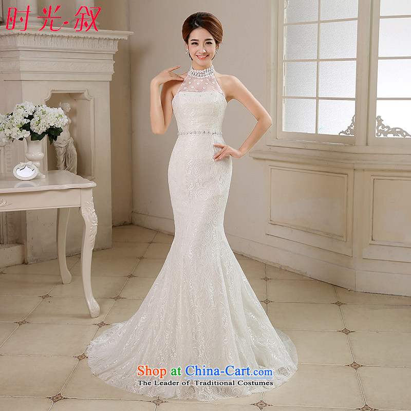 The Syrian Arab Republic and the Republic of Korea time wedding dress autumn 2015 new retro lace a shoulder-to-field also diamond marriages crowsfoot wedding dresses trailing white M